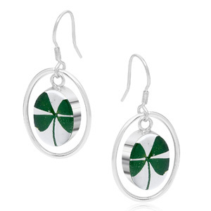 Silver Drop Earrings - Four Leaf Clover - Oval Surround
