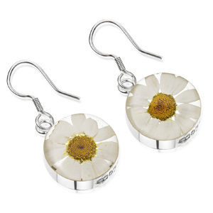 Silver Drop Earrings - Daisy - Round