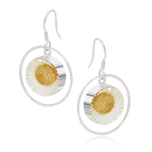 Silver Drop Earrings - Daisy - Round Surround