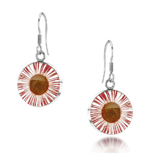Silver Drop Earrings - Daisy Pink - Round