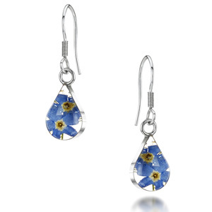 Silver Drop Earrings - Forget-Me-Not - Teardrop