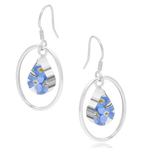 Silver Drop Earrings - Forget-Me-Not - Oval Surround