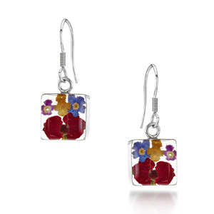 Silver Drop Earrings - Mixed Flowers - Square