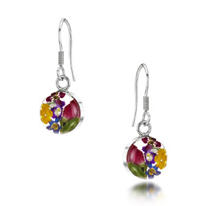 Silver Drop Earrings - Mixed Flowers - Small Round