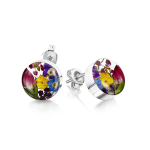Silver Stud Earrings - Mixed Flowers - Small Round