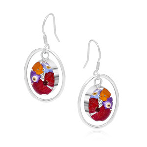 Silver Drop Earrings - Mixed Flowers - Oval Surround