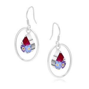 Silver Drop Earrings - Mixed Flowers - Teardrop Surround