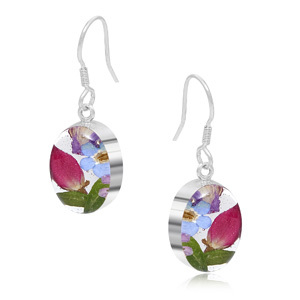 Silver Earrings - Mixed Flowers - Oval