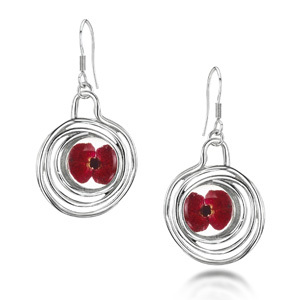 Silver Drop Earrings - Poppy - Spiral
