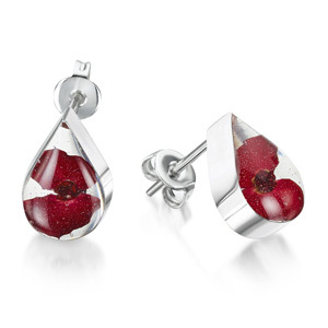 Silver Stud Earrings - Poppy - Teardrop