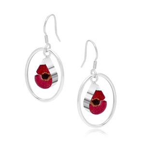 Silver Earrings - Poppy - Teardrop Surround