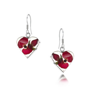 Silver Drop Earrings - Poppy Rose - Heart