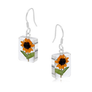 Silver Earrings - Sunflower - Rectangle
