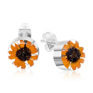 Silver Stud Earrings - Sunflower - Round