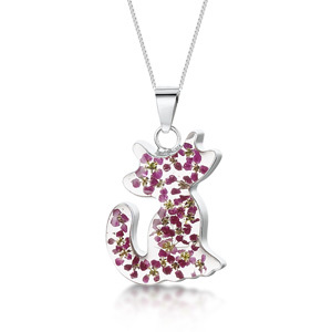 Silver Necklace - Purple - Cat