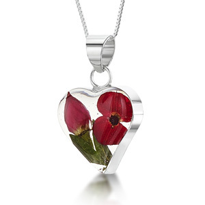 Silver Pendant - Poppy & Rose - Heart