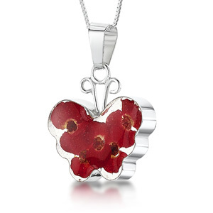 Silver Pendant - Poppy - Medium Butterfly