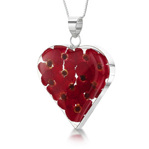 Silver Pendant - Poppy - Large Heart