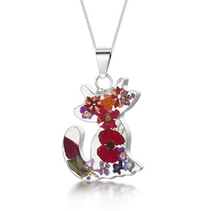 Silver Pendant - Mixed Flowers - Cat