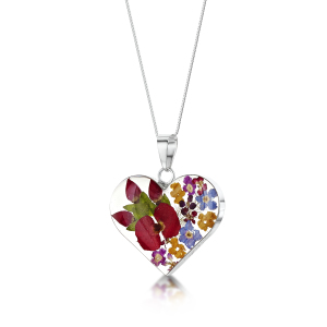 Silver Pendant - Mixed Flowers & Rose - Medium Heart