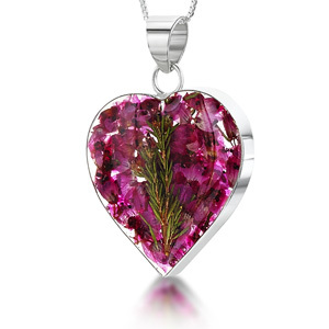 Silver Pendant - Heather - Medium Heart