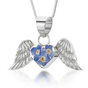 Silver Pendant - Forget-Me-Not - Angel Wings