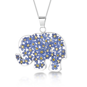 Silver Pendant - Forget-Me-Not - Elephant