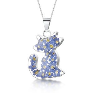 Silver Pendant - Forget-Me-Not - Cat