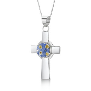 Silver Pendant - Forget-Me-Not - Celtic Cross