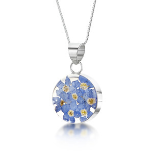 Silver Pendant - Forget-Me-Not - Medium Round
