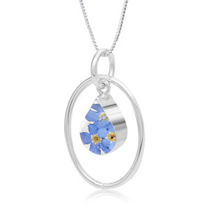 Silver Pendant - Forget-Me-Not - Oval Surround