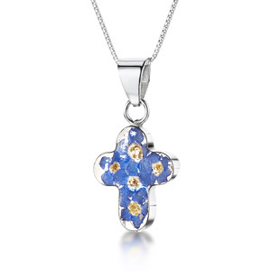 Silver Pendant - Forget-Me-Not - Small Cross