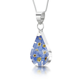 Silver Pendant - Forget-Me-Not - Teardrop