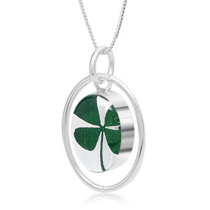 Silver Pendant - Four Leaf Clover - Oval Surround