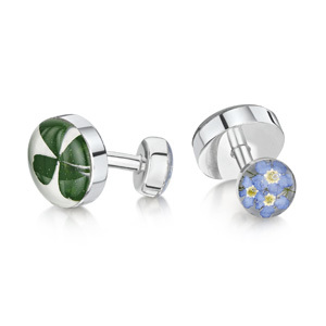 Silver Cufflinks - Four Leaf Clover & Forget Me Not