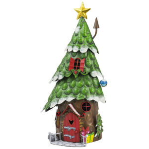 Red Door Christmas Tree House Garden Ornament