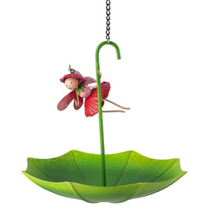 Poppy Umbrella Bird Food Bowl Garden Ornament Bird Feeder