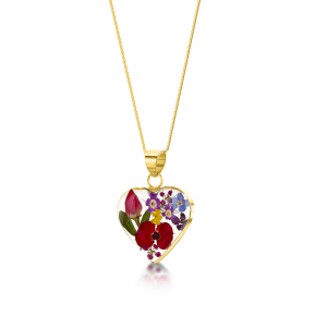23K Gold Plated Sterling Silver Pendant - Mixed Flowers - Med Heart