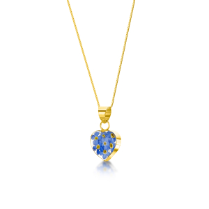 23K Gold Plated Sterling Silver Pendant - Forget-me-not - Heart