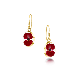 23K Gold Plated Sterling Silver drop Earrings - Poppy - Oval