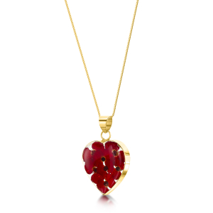 23 K Gold Plated Sterling Silver Pendant - Poppy - Med Heart