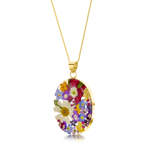 23K Gold Plated Sterling Silver Pendant - Mixed Flower - Oval
