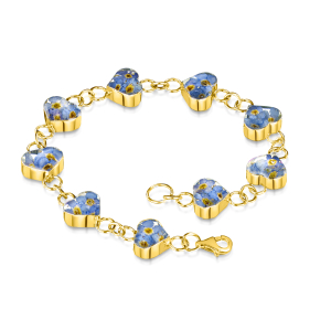 23K Gold Plated Sterling Silver Bracelet - Forget-Me-Not - Heart
