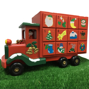 Wooden Advent Christmas Truck With Seeds